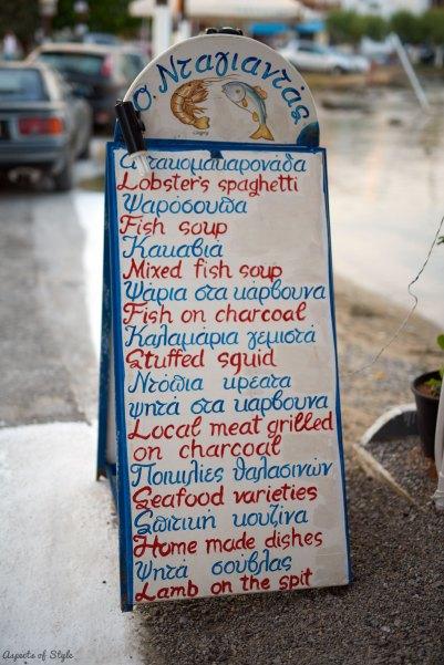 Restaurant menu in Elafonisos, Greece