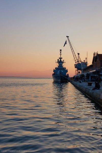 warship at Thessaloniki's port