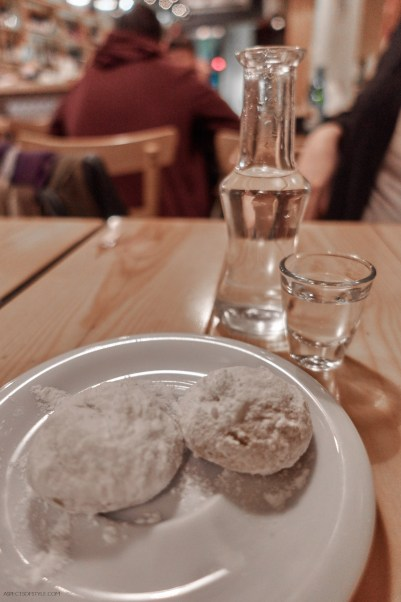 Raki and sweets to end the meal