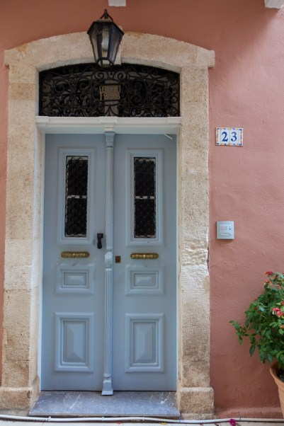 pastel blue door at Rethymno, Crete, Greece