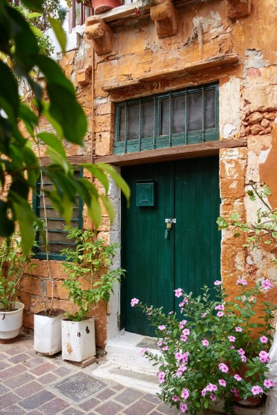 Green door in Chania, Crete