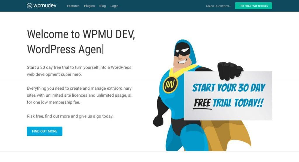 WPMU DEV page d'accueil