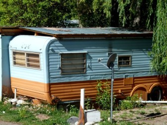 A small trailer in one of the two trailer parks in Basalt that primarily house Latino workers.