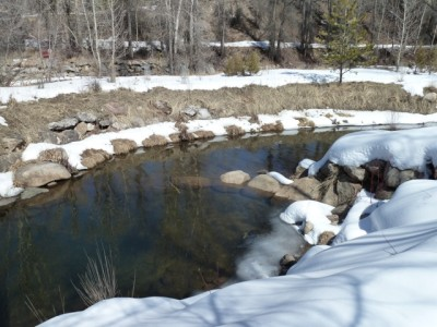 One of the seven pools in the kayak channel where at low flows, fish can find themselves in hot water.