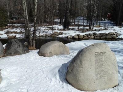 "River ""poems, prayers, and promises"" in the John Denver Sanctuary."