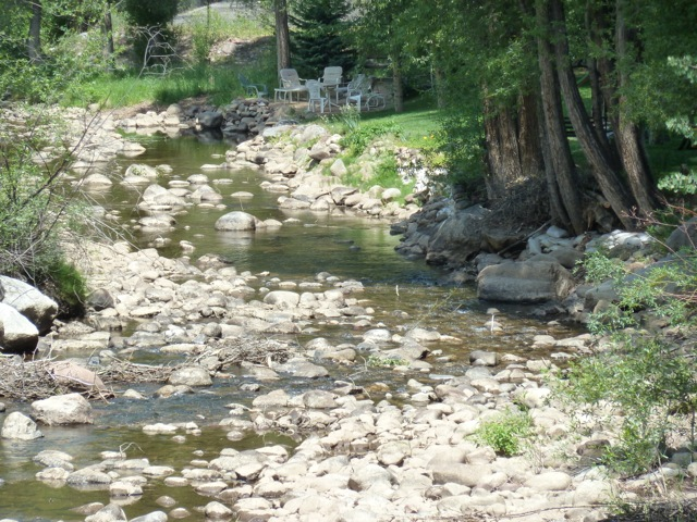 Low water this summer on the Roaring Fork River through Aspen.