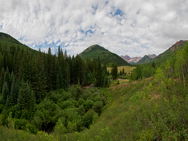 Another view of the potential dam and reservoir site just below the confluence of East and West Maroon creeks. The Maroon Bells, the most photographed peaks in Colorado according to the U.S. Forest Service, are visible in the background up West Maroon Creek.