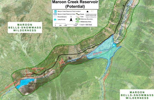 A map of the potential Maroon Creek Reservoir, based on the city's conditional decree.