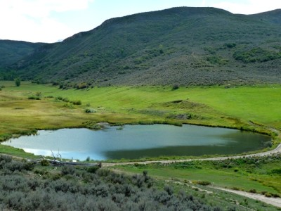 The pond in the upper meadow at Windstar.