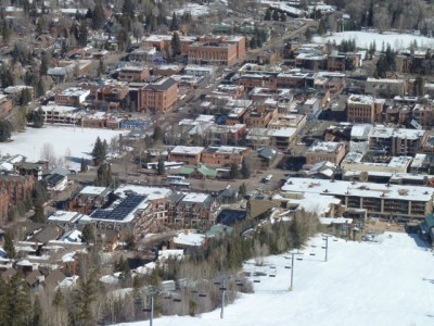Downtown Aspen from Aspen Mountain during the 2011-12 ski season.
