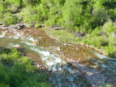 Maroon Creek as seen from the Maroon Creek highway bridge. Shortly below this reach, Maroon Creek joins the Roaring Fork River. This reach would benefit the most from the county's dedication of some of its water to an environmental instream flow right.