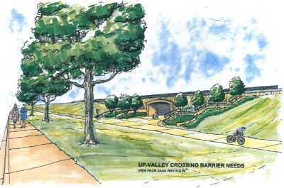 Proposed underpass under SH 82, from the Aspen Business Center viewpoint. The underpass will be in front of the Aspen Skiing Co. building.