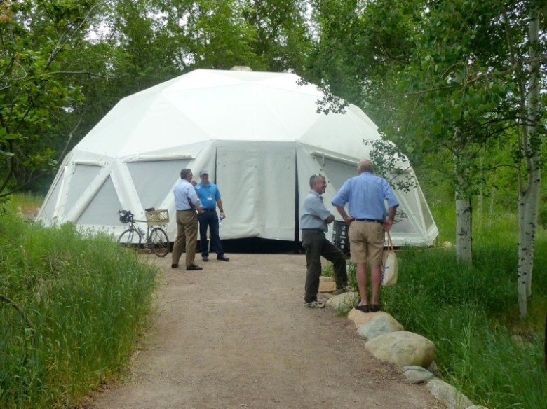 The Buckminster Fuller dome at the Aspen Institute served very well as a planetarium during Ideas Festival.