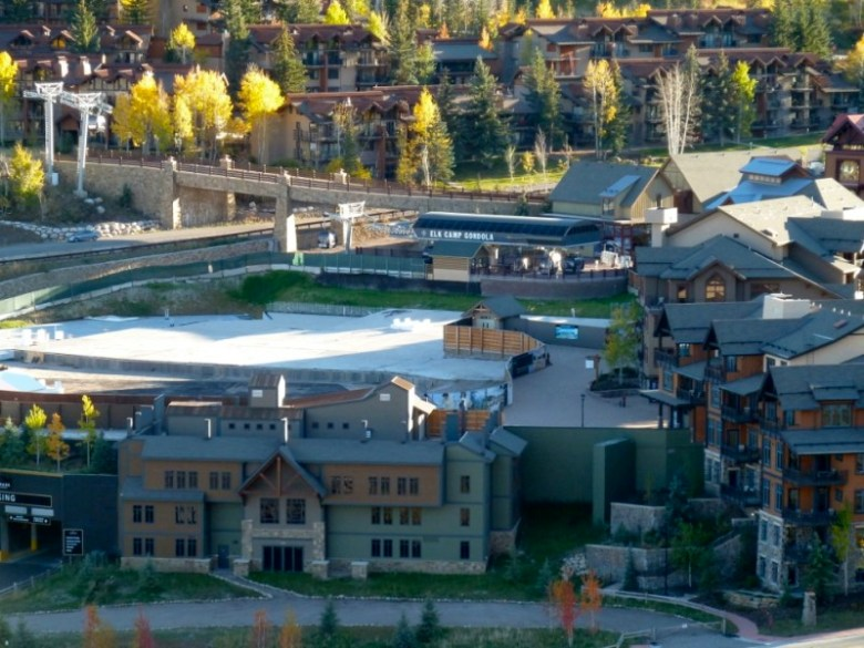 Building 5 is planned for the open concrete slab behind Building 7 - the transit building - and the Elk Camp Gondola.