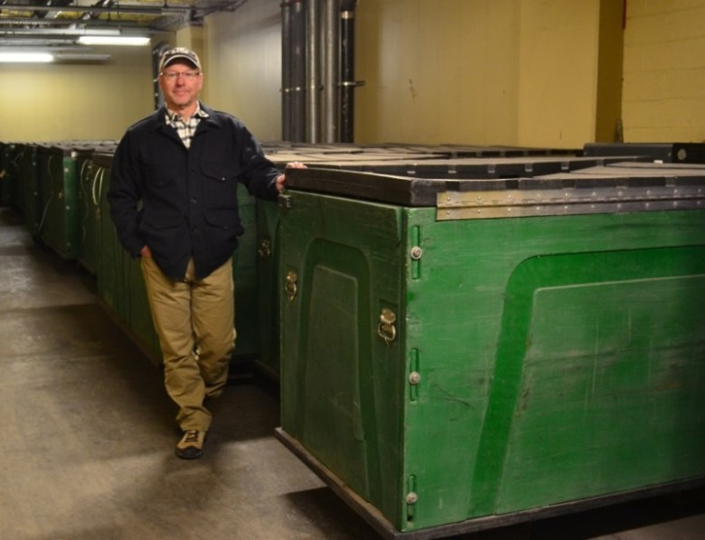 Beneath Vail's Lionshead base area is a sprawling underground complex of tunnels and storage rooms. Rick Cables, vice president of natural resources, says these giant plastic bins are loaded with food, drinks and other freight and rolled directly onto work cars at the Eagle Bahn Gondola for swift delivery to on-mountain restaurants.