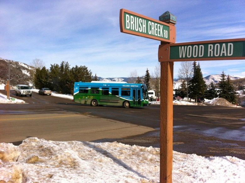The intersection of Brush Creek and Wood roads at the entrance to Base Village. The intersection also serves as the upper entrance to the Snowmass Center.