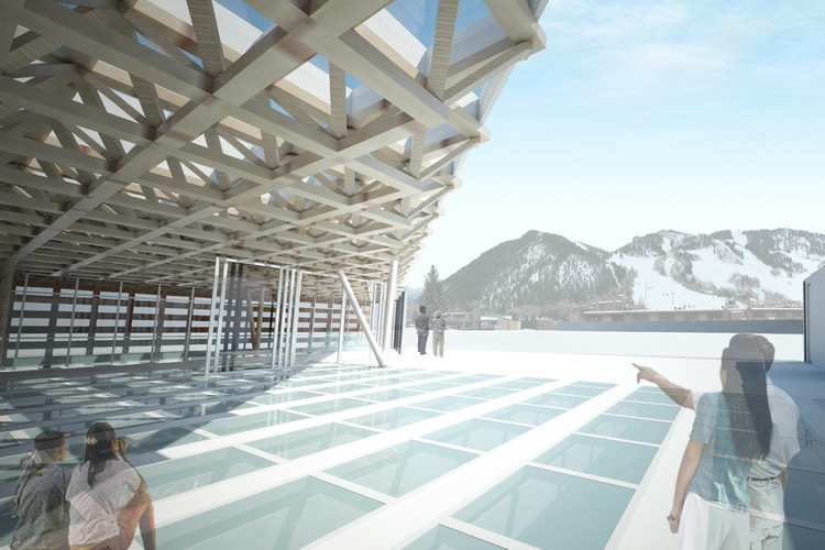 A rendering of the top floor of the Aspen Art Museum building, now under construction in downtown Aspen.