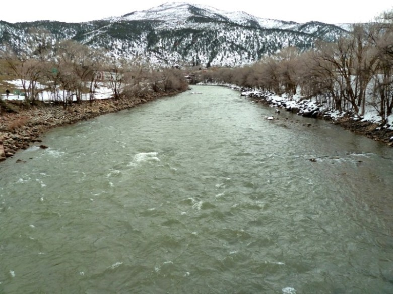 One of three whitewater parks proposed by the city of Glenwood Springs would be built on this stretch of the Colorado River, several blocks downstream from the Grand Ave. Bridge. The view is from the pedestrian bridge that spans the Colorado River at the upper end of Two Rivers Park, just above the Colorado's confluence with the Roaring Fork River.