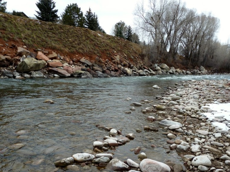 A view upstream of the proposed location for the Pitkin County Whitewater Park in Basalt. Two structures would be built in the river here to create waves at the green and blue level of difficulty.