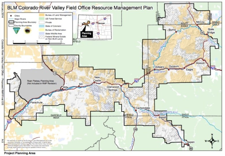 This maps shows in more detail the planning area covered by the proposed resource management plan.