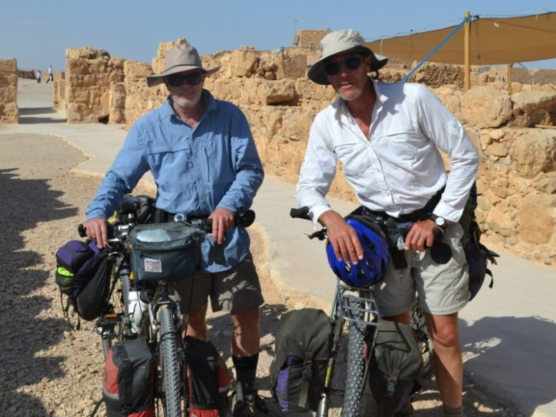 Graeme Means and Paul Andersen exploring the mesa-top ruin of Masada.