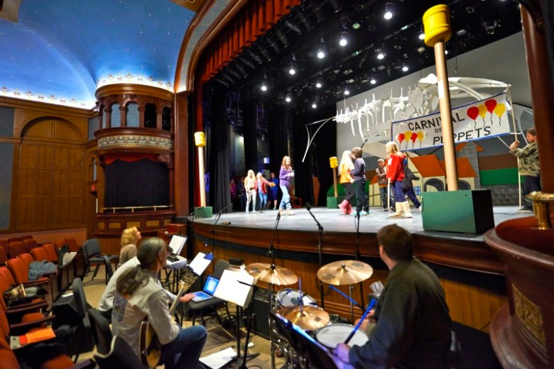 Students, parents and teachers rehearse for 'Pinocchio' in late April.