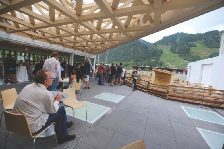 The third-floor roof deck at the new Aspen Art Museum. The deck is free and open to the public when the museum is open.