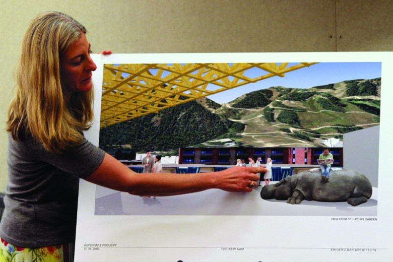 Heidi Zuckerman Jacobson, Director of the Apen Art Museum, presents the Mayor and City Council with graphic renderings of the proposed new art museum building at a press conference Wednesday, July 7, 2010 at City Hall.