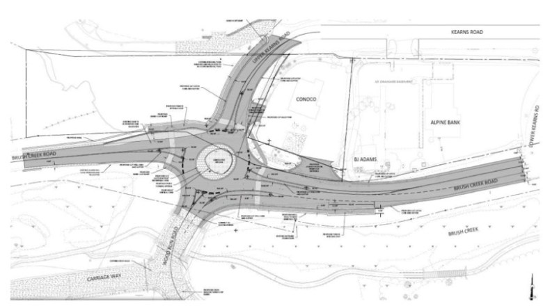 A diagram of the proposed roundabout at Brush Creek and Wood roads.