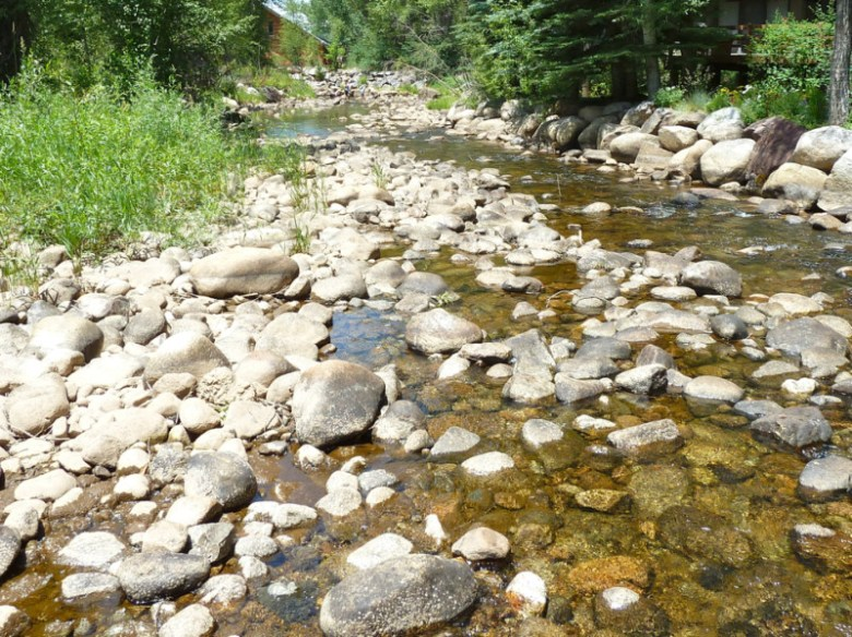 Low flows in the Roaring Fork River just above Rio Grande Park, in July 2012. City of Aspen officials say the Roaring Fork runs below environmentally-sound levels on this stretch about eight weeks of the year now.