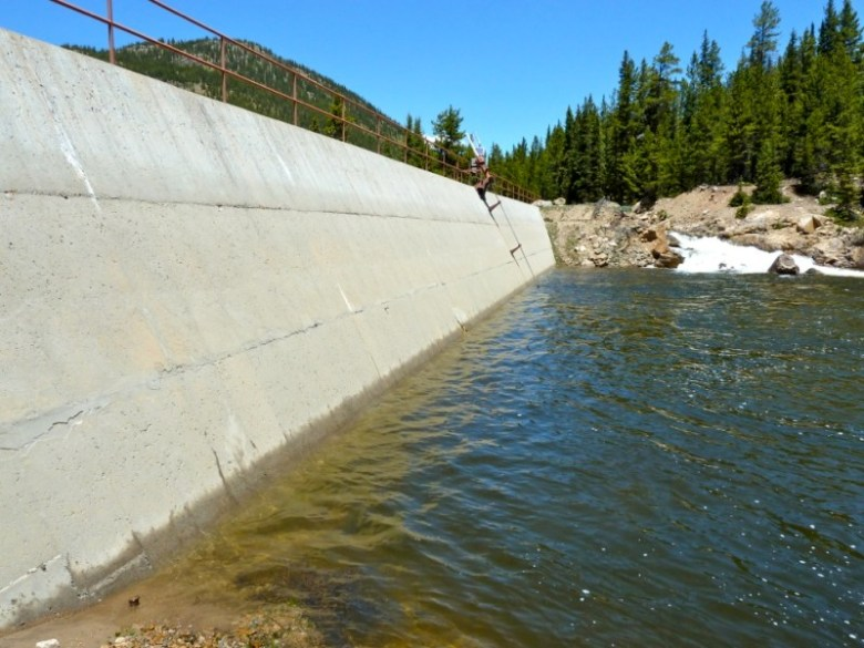 The diversion dam across the main stem of the upper Roaring Fork River. The dam diverts water toward the Independence Pass tunnel and the East Slope.