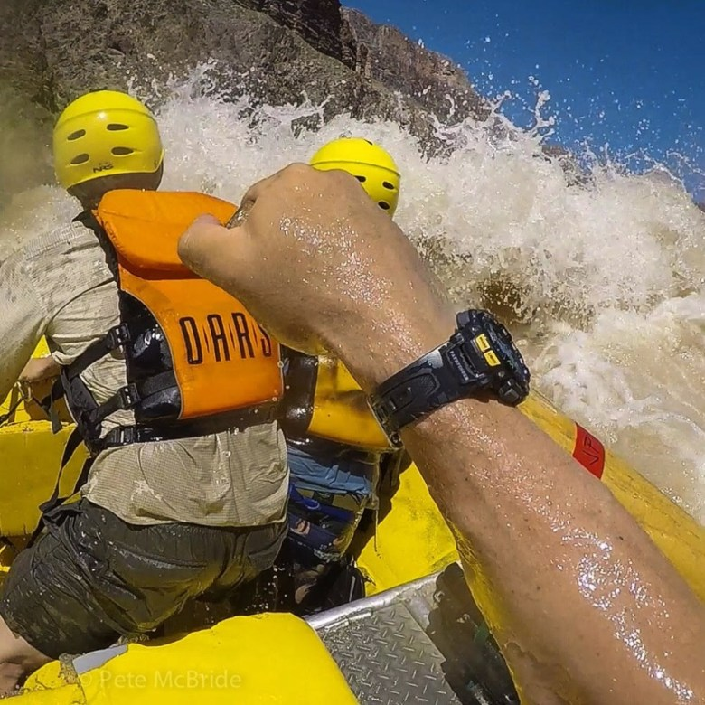 Pete McBride, on the oars, and at the camera, on the Colorado River in the Grand Canyon, in June 2015.