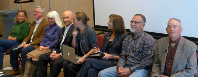 Eight Western Slope lawmakers in the Colorado State House talked water with the Colorado River Basin Roundtable in Glenwood Springs on Monday. From left, KC Becker, Bob Rankin, Diane Mitsch Bush, Dan Thurlow, Kerry Donovan, Millie Hamner, Yeulin Willett and J. Paul Brown.