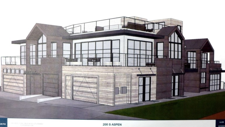 A view of the proposed building as included in the P&Z  meeting packet for Nov. 17, 2015. This view is from the alley.