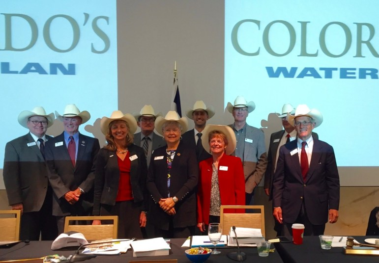 The Colorado Water Conservation Board, after unveiling the Colorado Water Plan in Denver in November 2015. The board includes eight voting members from river basins in Colorado and one voting member from the city and county of Denver. Russ George, far left, represents the Colorado River basin.