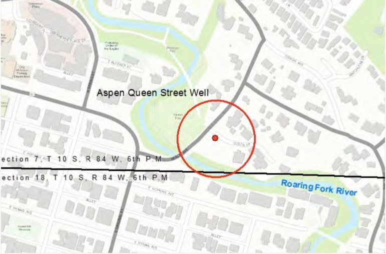 A map from the city's water rights application showing the location of the potential Queen Street Aspen Well.