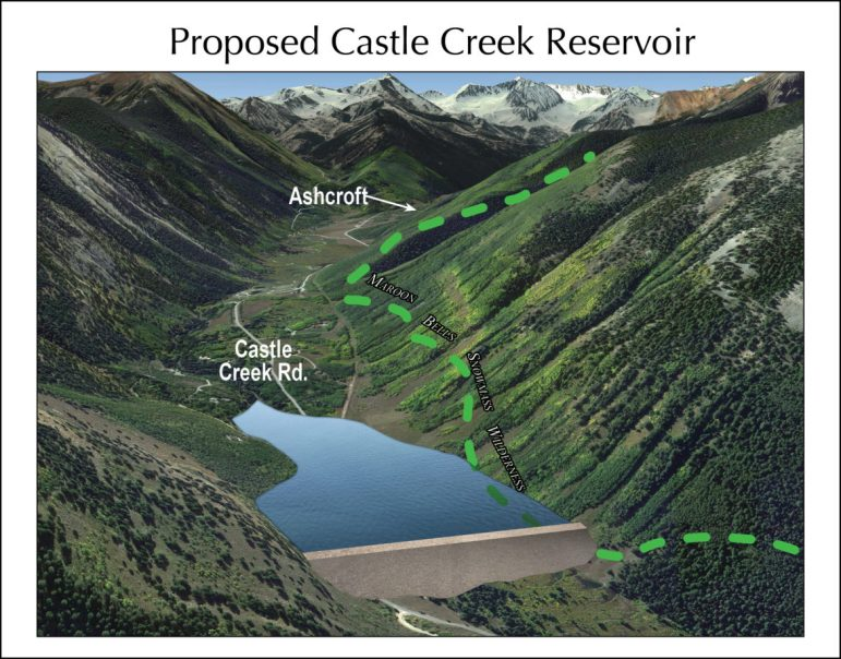 A rendering from Wilderness Workshop showing the potential Castle Creek Reservoir. The rendering was developed by a professional hydrologist and i sbased on engineering plans filed by the city.