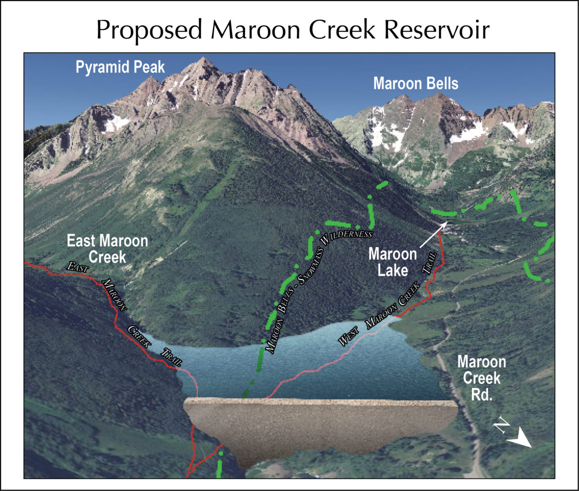 A 2016 rendering from Wilderness Workshop of a potential Maroon Creek Reservoir, which would hold 4,567 acre-feet of water behind a 155-foot-tall dam. The rendering was prepared by a professional hydrologist and is based on plans submitted to the state by the city 1965.