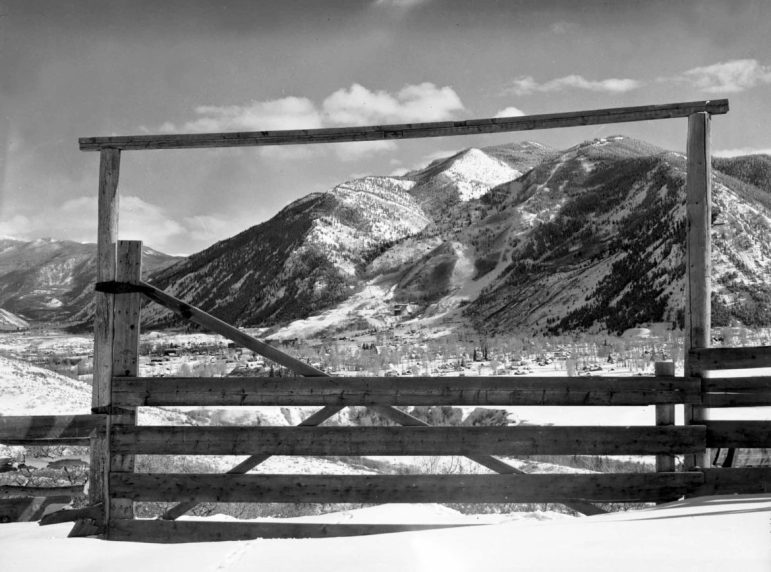 A view of Aspen and Aspen Mountain, taken from the Eriksen Ranch on Red Mountain. The charm factor was quite high in Aspen in the 1950s, and the ski area was still taking shape on Aspen Mountain.