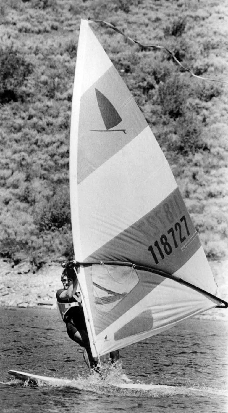 A windsufer on Ruedi Reservoir in September, 1980.