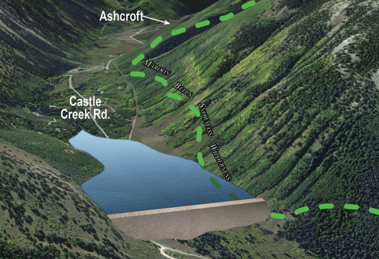 A detail of a map of the potential Castle Creek Reservoir, prepared by Wilderness Workshop and based on a map filed by the city with the state in 1965. The dam would be 170-feet-tall and 1,220 feet across the valley.
