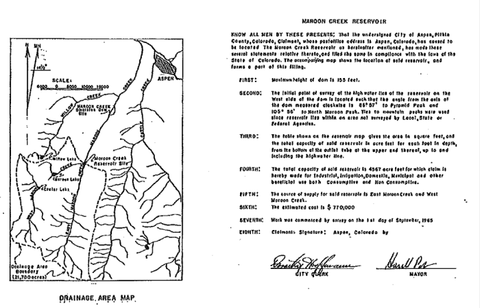 This detail from the 1965 map for Maroon Creek Reservoir shows the location of the reservoir, the height of the dam (155 feet) and the signature of the then mayor of Aspen, Harald Pabst.