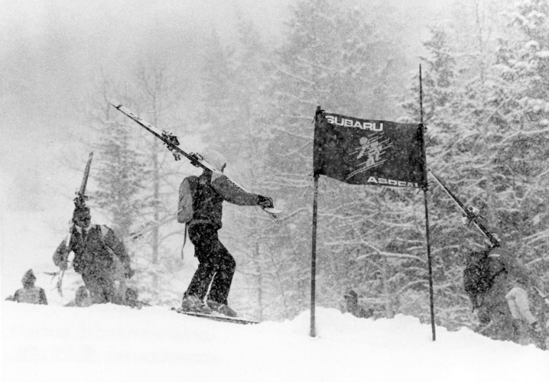Sunday, March 9, 1986, a sad day in World Cup history on Aspen Mountain, after a course blockade or boycott by skiers and coaches leads to the cancellation of Aspen's World Cup Giant Slalom. Low clouds, warm temperatures, and punchy snow were cited by the boycotters as too dangerous, much to the irritation of Ski Company President Jerry Blann (1984-'88), who was unhappy with the racers during his podium speech for not completing the race.