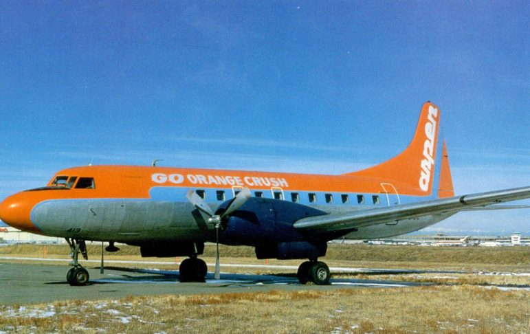 An Aspen Airways plane on the Denver tarmac in 1978, painted in honor of the Denver Broncos who were about to play in Super Bowl XII. Cowboys quarterback Roger Staubach versus Broncos quarterback Craig Morton. Cowboys 27-10.