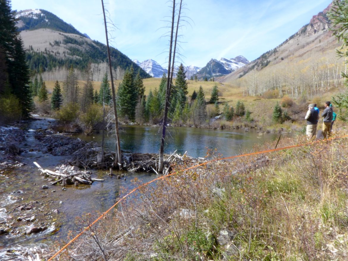Orange tape marks the location of a potential 155-foot-tall across upper Maroon Creek near the Maroon Bells. The City of Aspen has filed to extend its conditional water tied to the potential dam and reservoir, as well as another dam on Castle Creek, but the state division engineer and water court referee in Division 5 have challenged the city's claims.