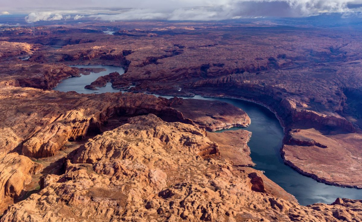 Lake Powell is shown here, in its reach between where the Escalante and San Juan rivers enter the reservoir, in an October 2018 aerial photo from the nonprofit environmental group EcoFlight. Colorado water managers are considering the implications of a program known as demand management that would pay irrigators on a temporary and voluntary basis to take less water from streams in order to boost water levels in Lake Powell, as an insurance policy against compact curtailment.