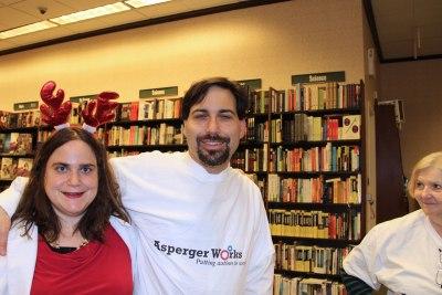 Lisa Rajczyk, sleepy-eyed Daniel Rajczyk, and Peggy Toomey