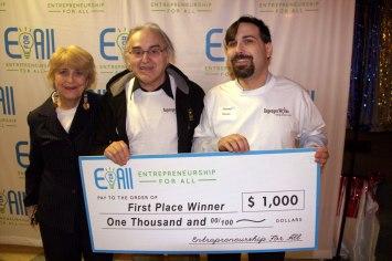 Eva, Adam, Daniel at the EforAll Pitch Contest