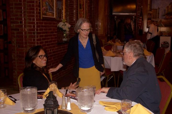 (r-l) Gerald Bouchet, Lysbeth Noyes, Dr. Bouchet's aide
