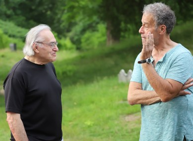 Adam Rajczyk talking with a member of the Essex County Ghost Project